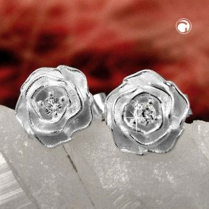 Boucles oreilles rose Zircon cubique argent 925 Krossin bijoux en argent 92682x