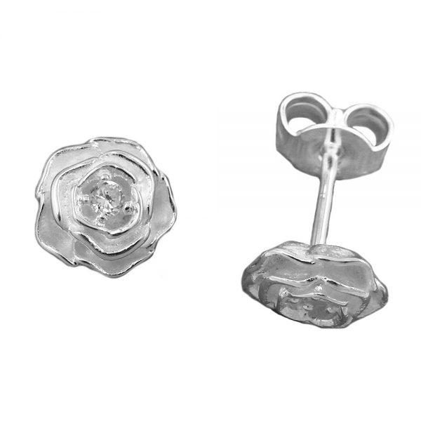 Boucles oreilles rose Zircon cubique argent 925 Krossin bijoux en argent 92682xx