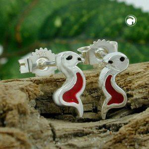 Boucles oreilles serpent rouge noir argent 925 Krossin bijoux en argent 92792x