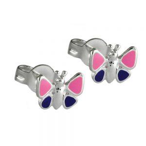 Boucles oreilles violet papillons argent 925 Krossin bijoux en argent 92462xx