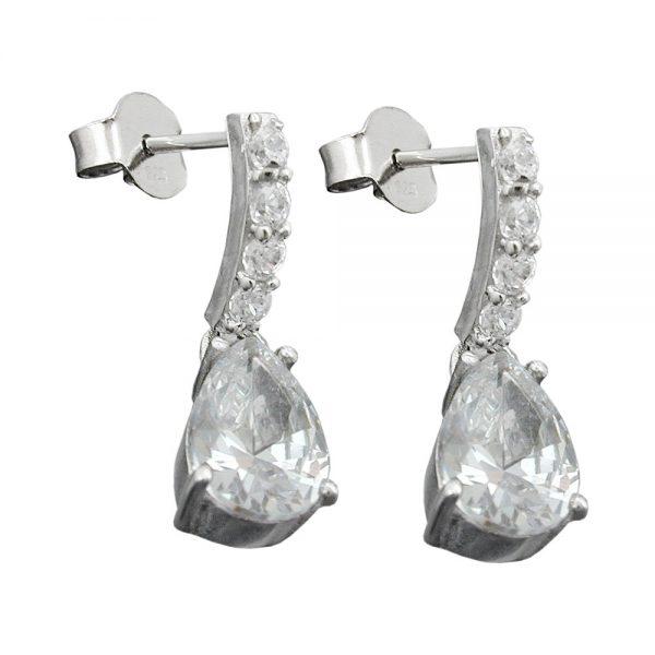 Boucles oreilles zircon blanc argent 925 Krossin bijoux en argent 94089xx