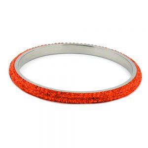 Bracelet 4 rangs cristaux de verre orange 01269xx