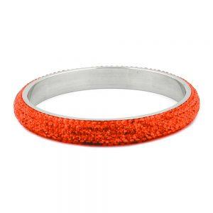 Bracelet 6 rangs cristaux de verre orange 01262xx