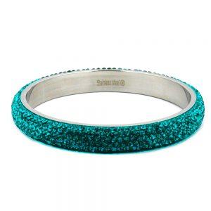 Bracelet 6 rangs cristaux de verre turquoise 01263xx