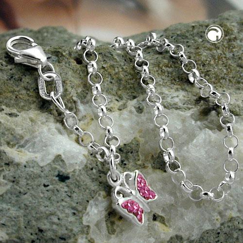 Bracelet ancre chaine charme papillon rose argent 925 Krossin bijoux en argent 16cm 125008x