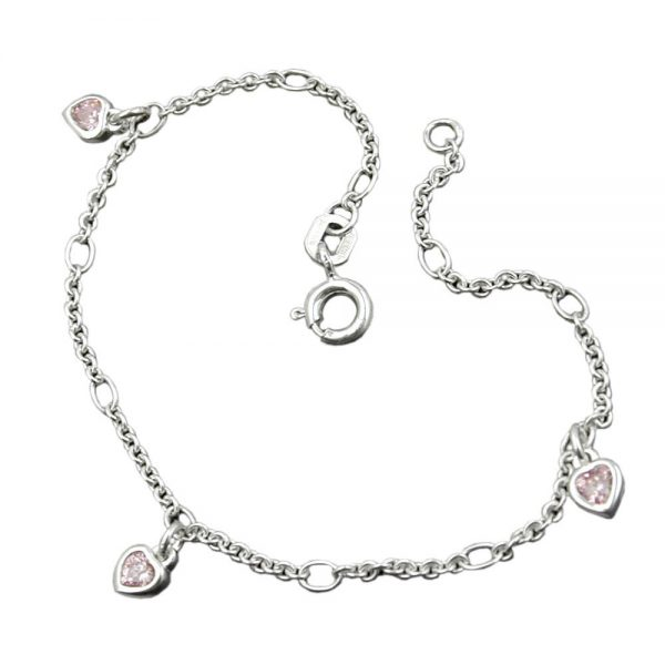 Bracelet chaîne dancre coeur Zircon rose argent 925 Krossin bijoux en argent 133032 16xx