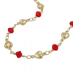 Bracelet perles rouges plaque or 230035 19xx