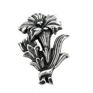 Broche gentiane antique couleur argent 00566xx