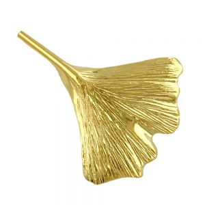 Broche ginkgo feuille 30mm 9k or 430156xx