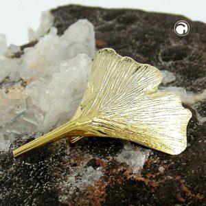Broche ginkgo feuille 30mm 9k or Krossin bijoux or 430156x