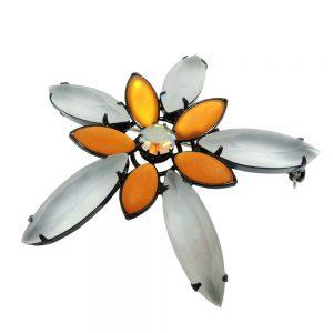 Broche grande fleur topaze 07585xx