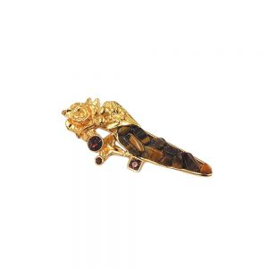 Broche oeil de tigre couleur or 03342xx