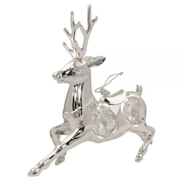 Cerf de decoration suspendu avec des elements en cristal plaque argent 70531xx
