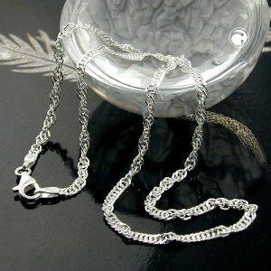 Chaine Singapour diamant Taille argent 925 Krossin bijoux en argent 36cm 144350x