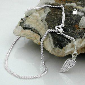 Chaine de cheville ange aile tag argent 925 Krossin bijoux en argent 25cm 101001x