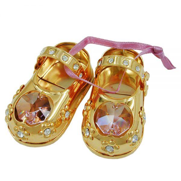 Chaussures bebes avec des elements en cristal plaque or rose 70576xx