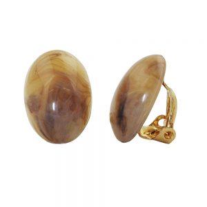 Clip on boucle doreille ovale brun marbre 18x13mm 00955xx