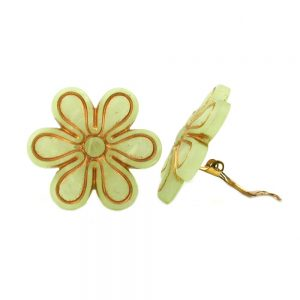 Clip on boucle doreille ronde jaune carreaux a motifs mat 30mm 07033xx