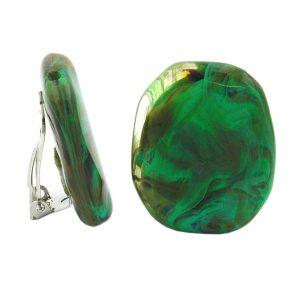 Clip on boucle doreille vert olive brun marbre 00797xx