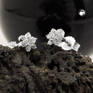 Clou doreille fleur Zircon argent 925 Krossin bijoux en argent 93737x