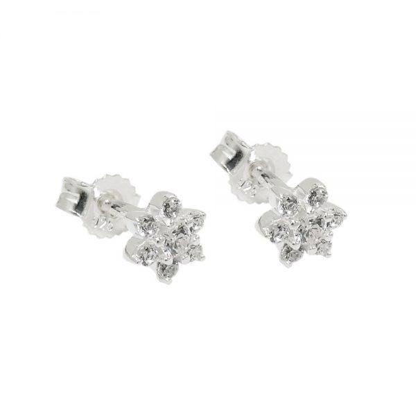 Clou doreille fleur Zircon argent 925 Krossin bijoux en argent 93737xx