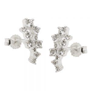Clou doreille fleur Zircon argent 925 Krossin bijoux en argent 93738xx
