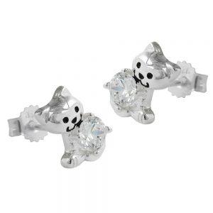 Clous oreilles chat avec Zircon cubique argent 925 Krossin bijoux en argent 91657xx