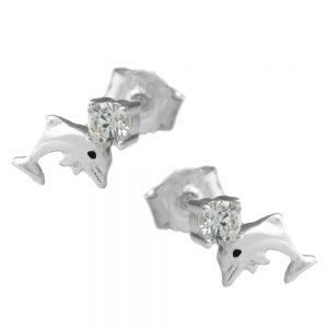 Clous oreilles dauphins avec Zircon argent 925 Krossin bijoux en argent 91647xx