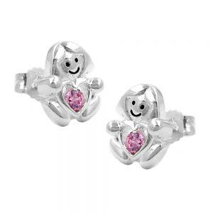 Clous oreilles fille avec un petit coeur rose argent 925 Krossin bijoux en argent 91665xx