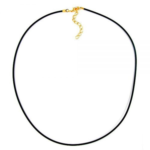 Collier 2mm bande de caoutchouc plaque or fermoir 42cm 00761 42xx