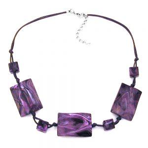 Collier 3 grandes perles doreiller agite violet marbre 00900xx