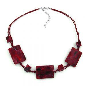 Collier 3 grandes perles doreiller agitees rouge  noir marbre 00830xx