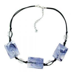 Collier 3 perles doreiller blanc  gris marbre 00420xx