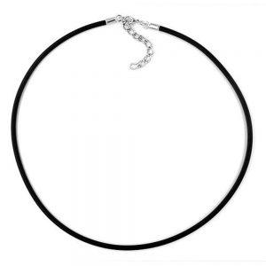 Collier 3mm bande de caoutchouc fermoir en argent 42cm 00763 42xx