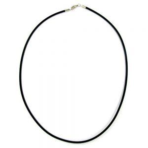 Collier 3mm elastique bande fermoir en argent 80cm 00763 80xx