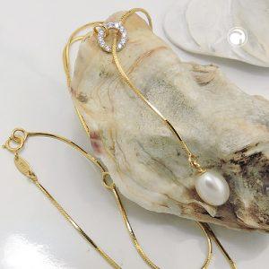 Collier 45cm Zircons 9k or Krossin bijoux or 519015x