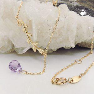 Collier 45cm amethyste en or 9 carats Krossin bijoux or 511021x