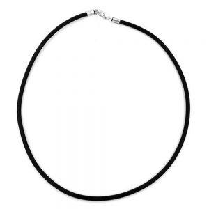Collier 4mm bande de caoutchouc fermoir de couleur argent 80cm 00771 80xx