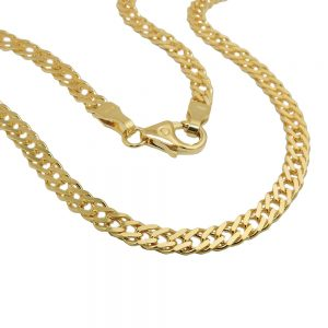 Collier 50cm gourmette double or 14 carats 503004 50xx