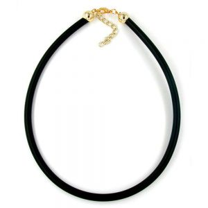 Collier 6mm elastique plaque or fermoir 42cm 00776 42xx