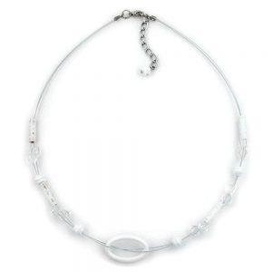 Collier blanc anneau ovale transparent 02398xx