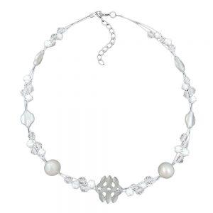 Collier blanc perles givrees et blanches nacrees sur fil souple enduit 01308xx