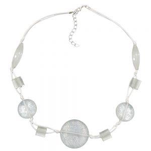 Collier blanc perles transparentes nouees cordon blanc 00861xx