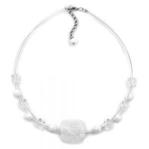 Collier blanc transparent 42cm 02359xx