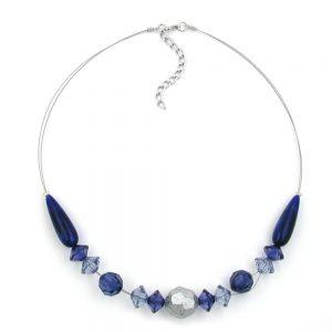 Collier bleu et perles argentees 45cm 02802xx