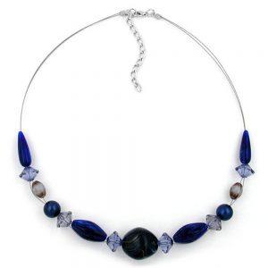 Collier bleu perles 45cm 02804xx