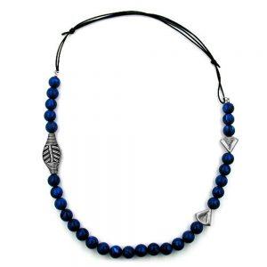 Collier bleu perles long 01104xx