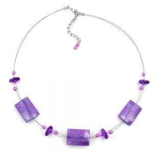 Collier brillant perles rectangle lilas sur fil flexible enduit 45cm 00150xx