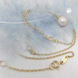 Collier chaine 45cm perle 9k or Krossin bijoux or 511022x