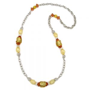 Collier chaine dancre jaune orange 90cm 02443xx